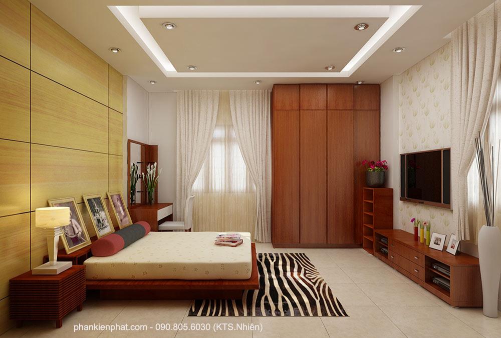Phòng ngủ 1 view 1 nhà 2 tầng 11x6m