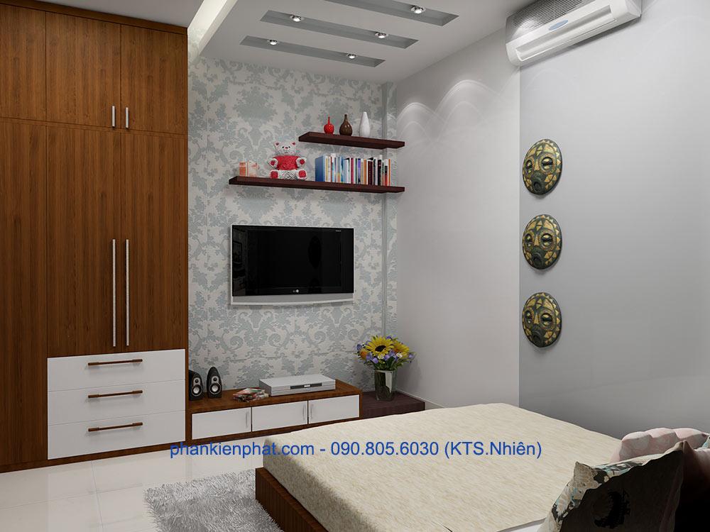 Phòng ngủ 1 view 2 của xây nhà phố 3 tầng
