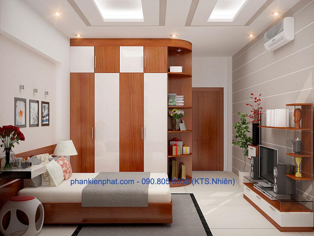Phòng ngủ 1 view 1 nhà đẹp 3 tầng hiện đại 4x14.5m