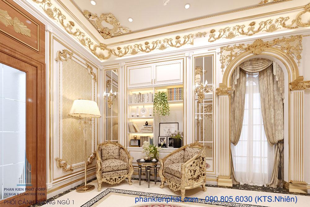 phòng ngủ master view 2 của biệt thự 13x20m hoàng gia