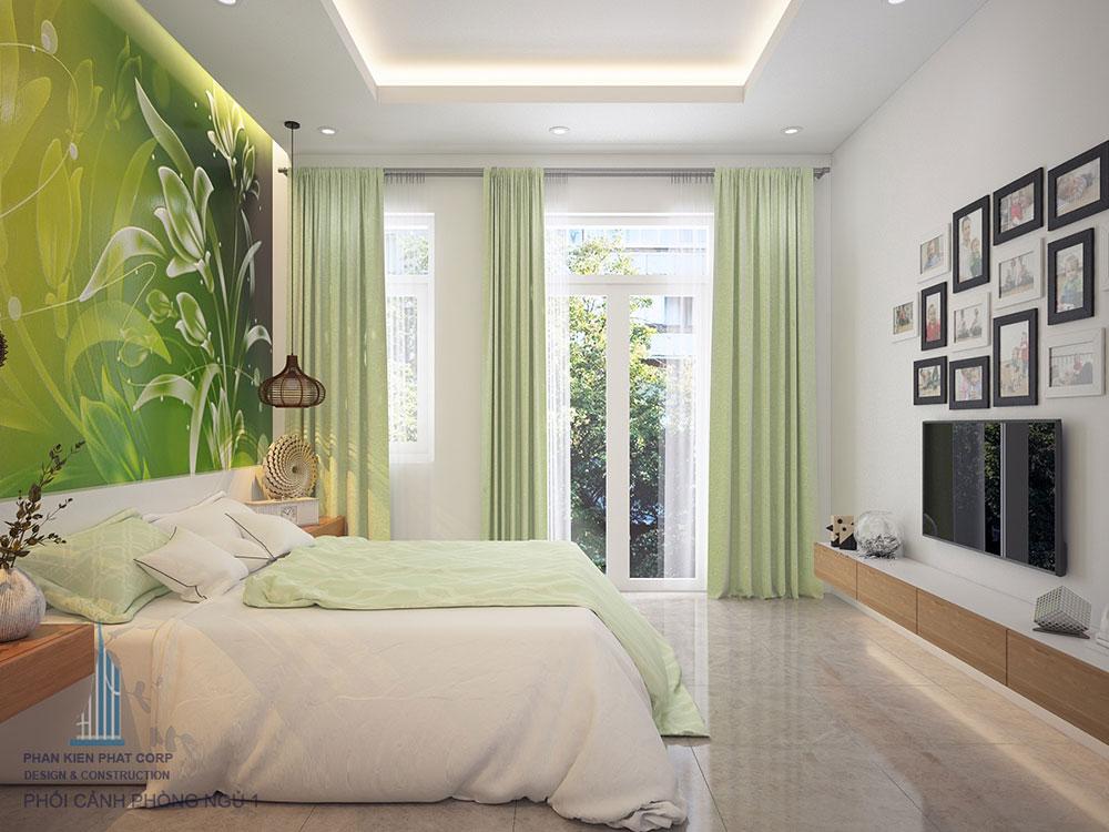 Phòng ngủ 1 view 2 nhà đẹp mái chữ A 4 tầng