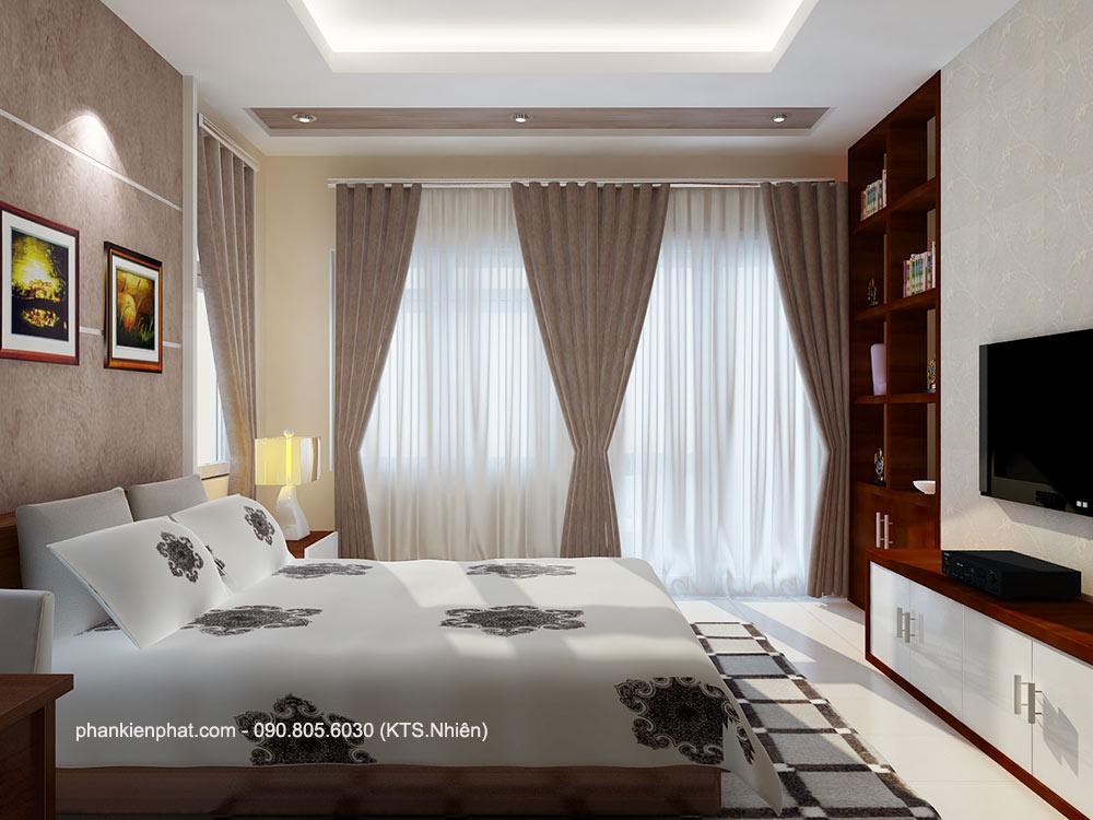 Phòng ngủ 1 view 2 nhà phố đẹp 4 tầng