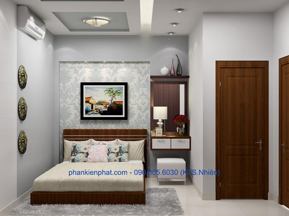 Phòng ngủ 1 view 2 nhà phố hiện đại 4x20m hiện đại