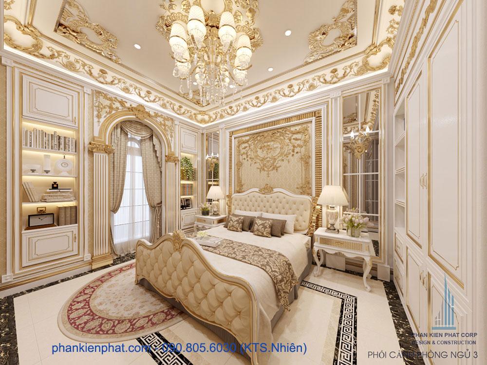 Phòng ngủ bán cổ điển hoàng gia ấn tượng