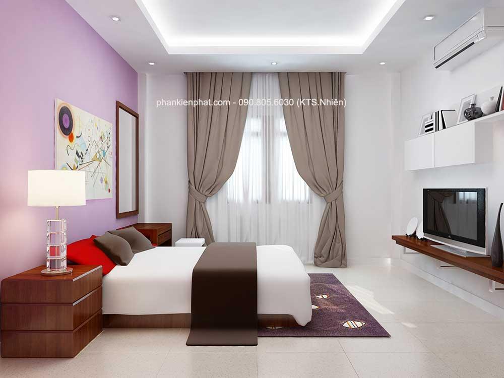 Phòng ngủ 2 góc 1 của nhà phố 3 tầng