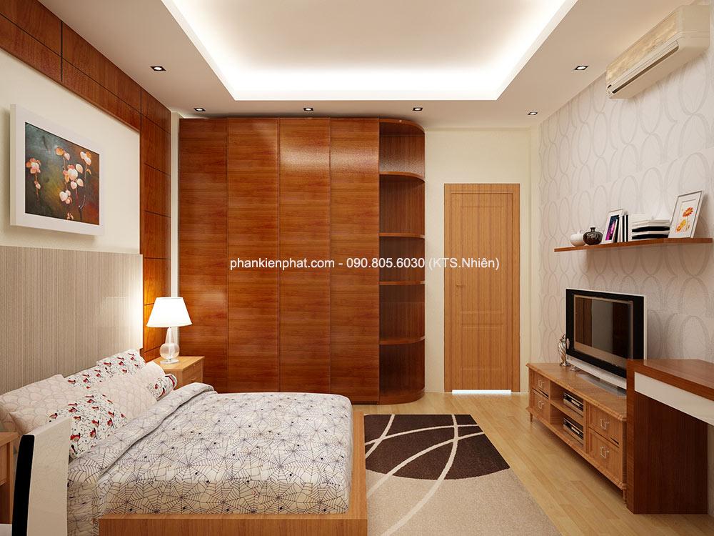 Phòng ngủ 2 góc 1 nhà 4 tầng 4,4x15m