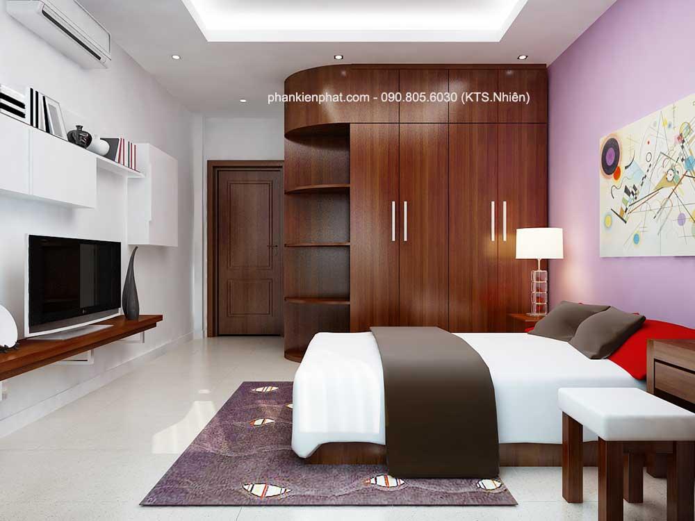 Phòng ngủ 2 góc 2 nhà bán cổ điển 3 tầng