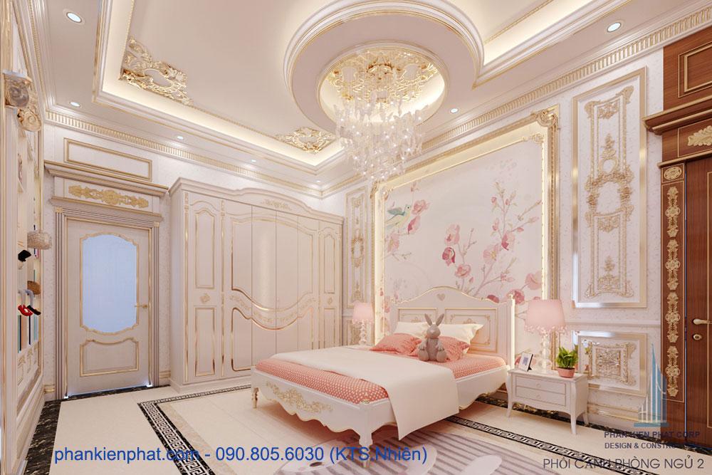 phòng ngủ 2 của bản vẽ biệt thự kinh doanh cổ điển