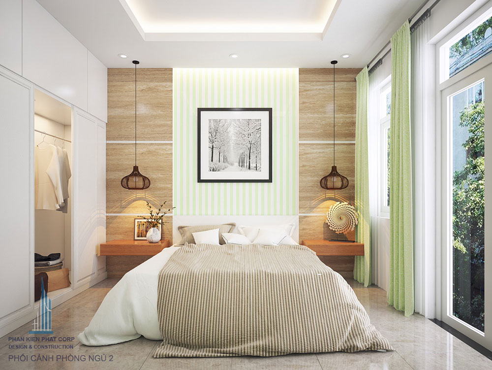 Phòng ngủ 2 view 1 của nhà phố đẹp 4 tầng