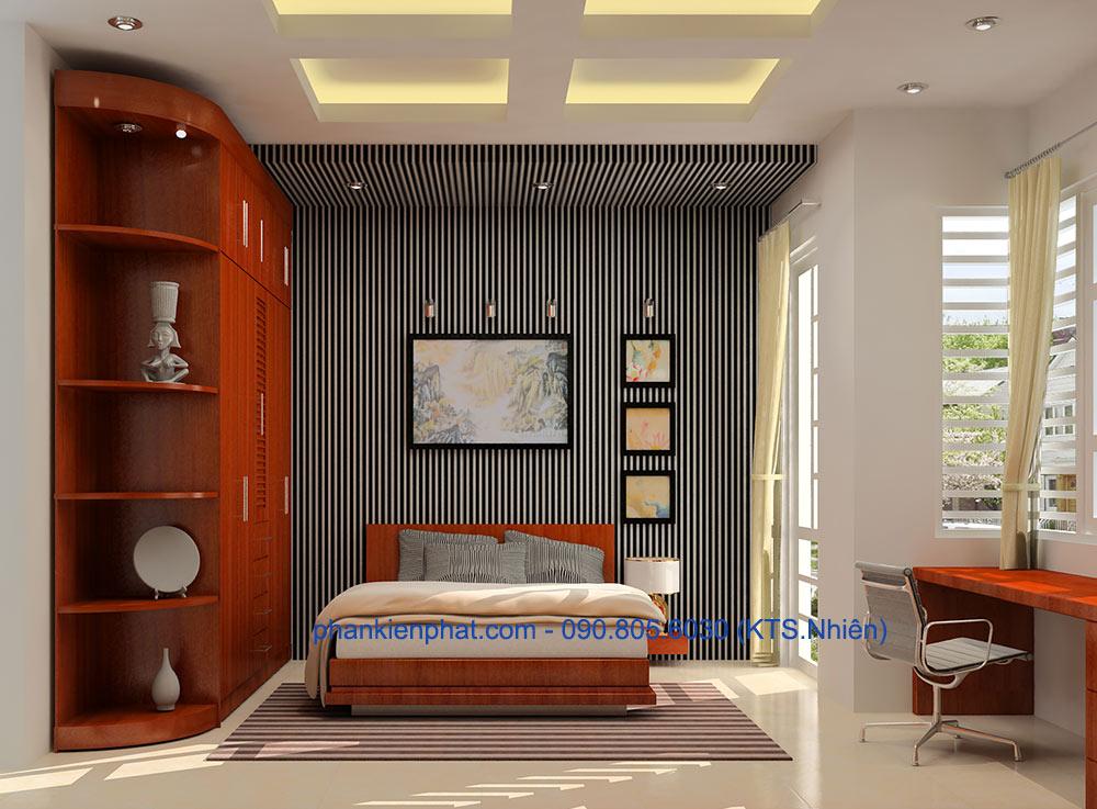 Phòng ngủ 2 view 1 của bản vẽ nhà 4 tầng hiện đại
