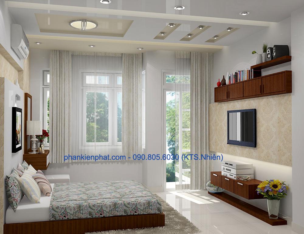 Phòng ngủ 2 view 1 nhà phố 4x20m 3 tầng hiện đại