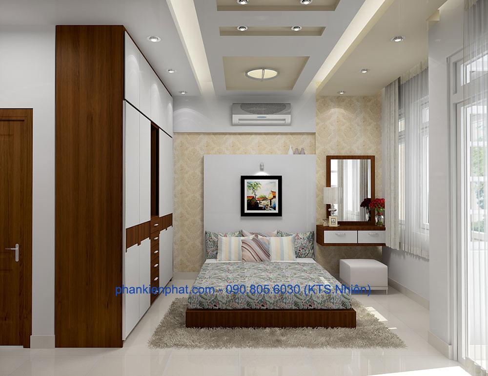 Phòng ngủ 2 view 2 nhà 4x20m 3 tầng hiện đại