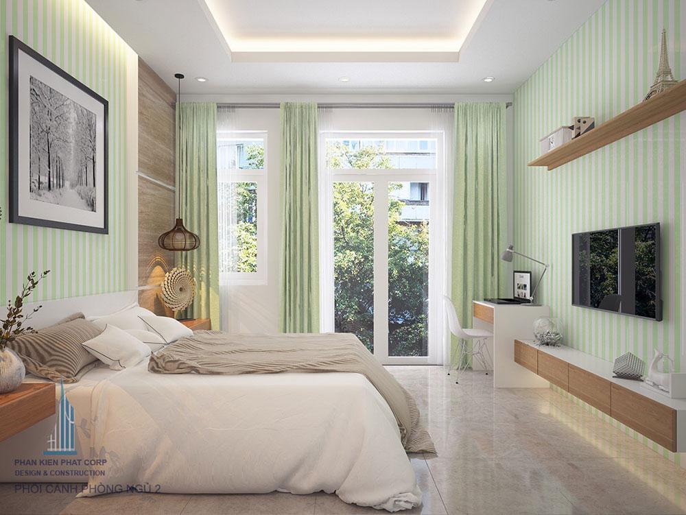 Phòng ngủ 2 view 2 nhà 4x16m 1 trệt 3 tầng đẹp