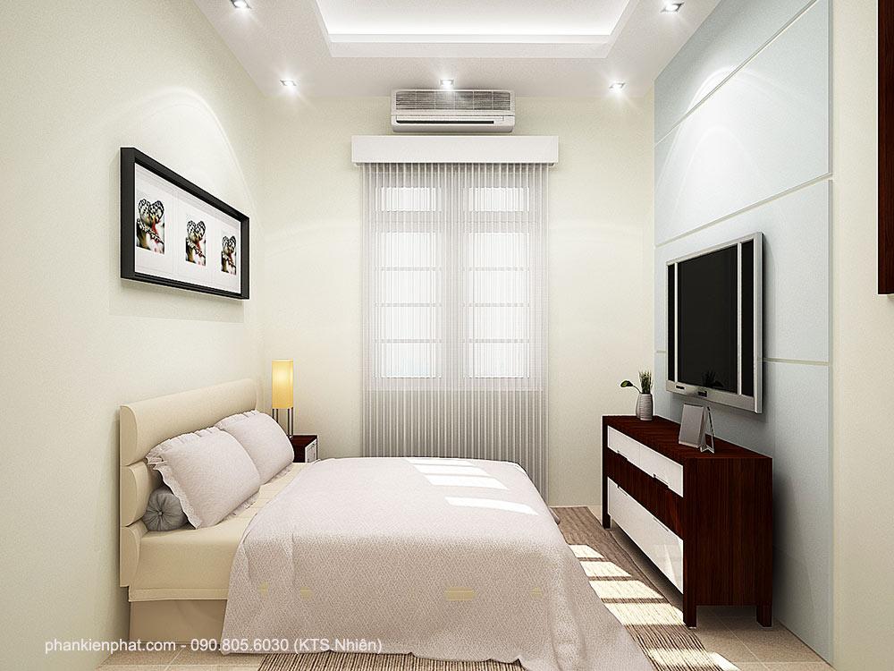 Phòng ngủ 2 view 2 nhà phố đẹp 4 tầng