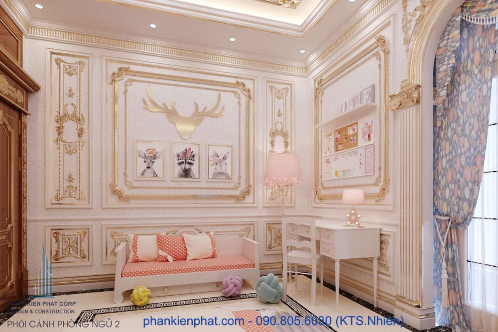 Phòng ngủ 2 view 2 của biệt thự hoàng gia 13x20m