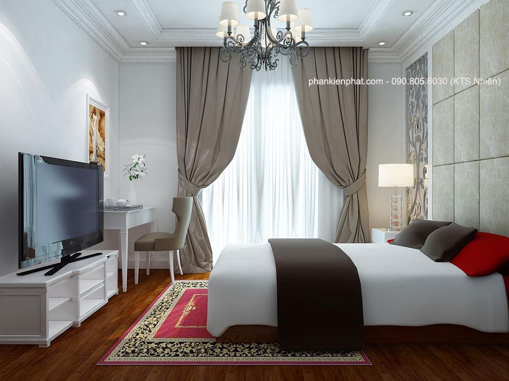 Phòng ngủ 3 của biệt thự mini 3 tầng bán cổ điển