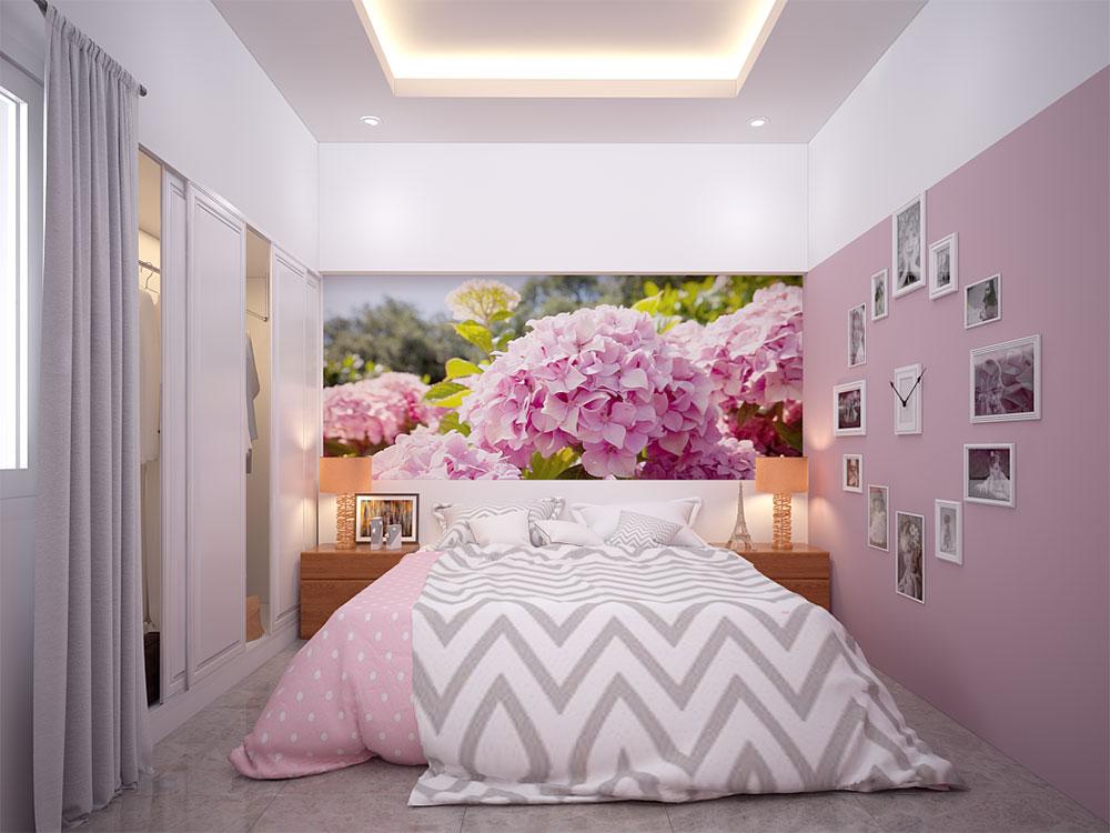 Phòng ngủ 3 view 1 của bản vẽ nhà 4 tầng đẹp