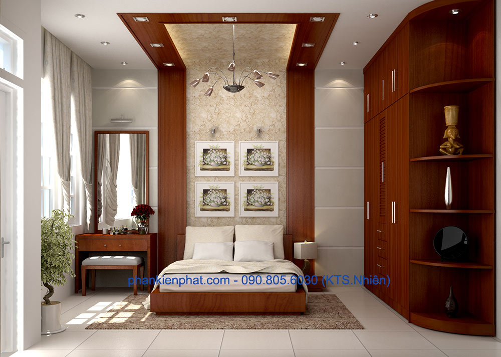 Phòng ngủ 3 view 1 của bản vẽ nhà phố 4 tầng 4.5x20m