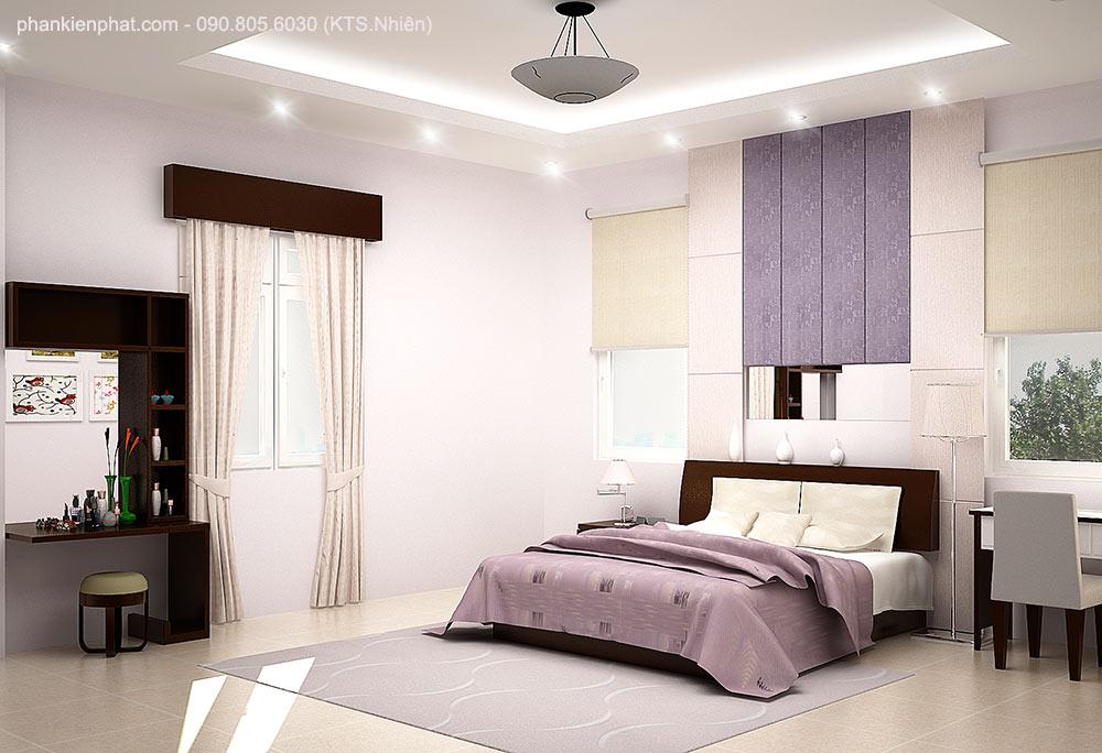 Phòng ngủ 3 view 1 nhà phố 16x7m 4 tầng