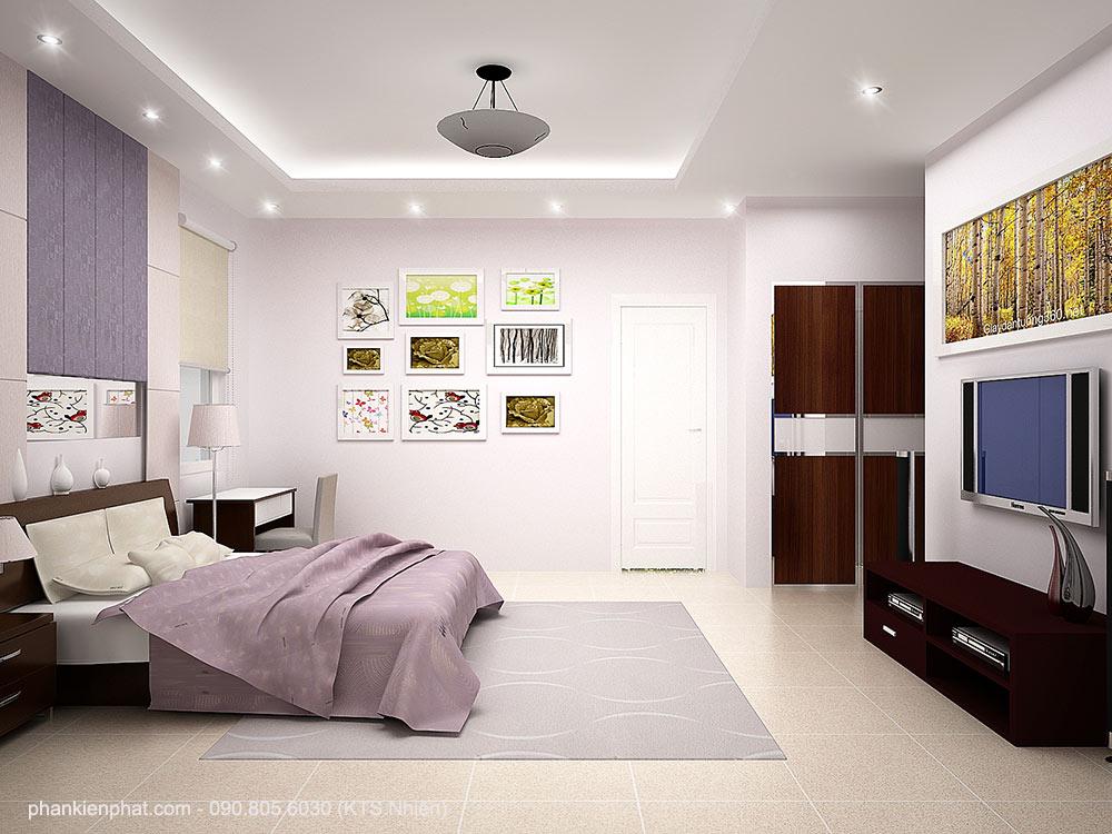 Phòng ngủ 3 view 2 nhà đẹp 7x16m 1 trệt 2 tầng 1 tum
