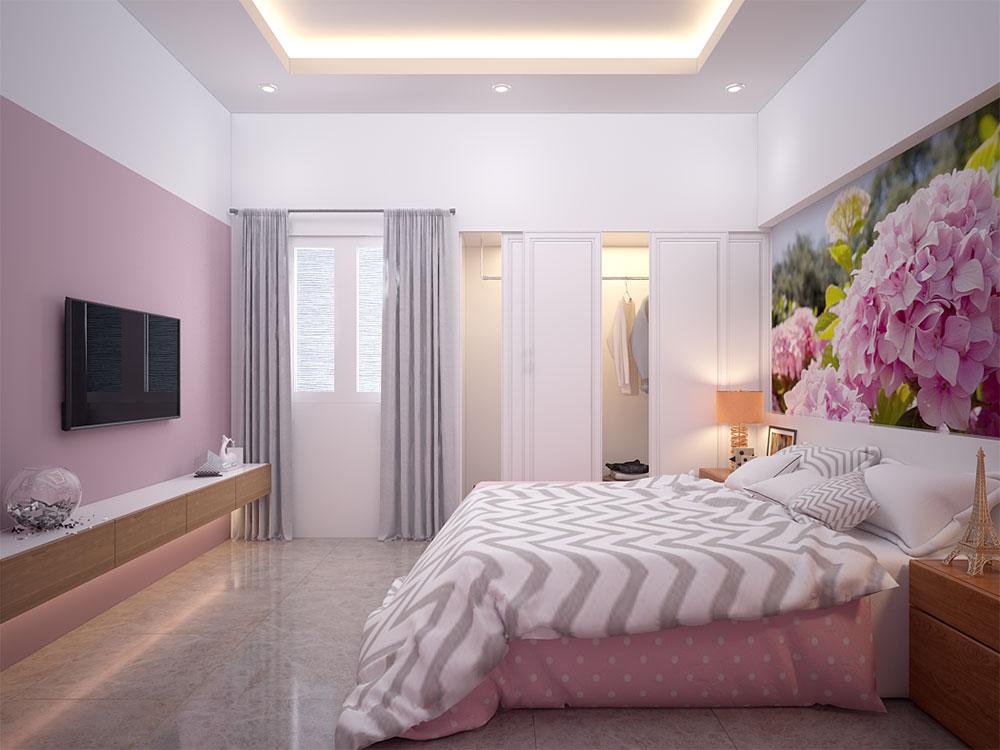Phòng ngủ 3 view 2 của bản vẽ nhà phố 4 tầng
