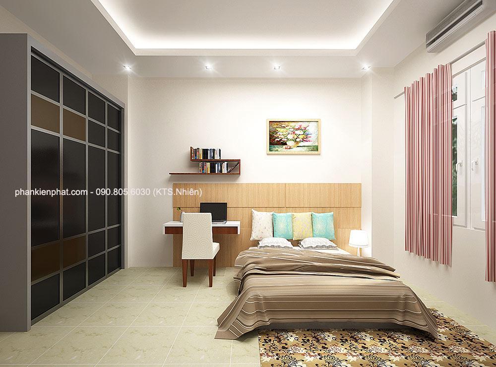 Phòng ngủ 4 view 2 bản vẽ biệt thự mini 7x16m 4 tầng
