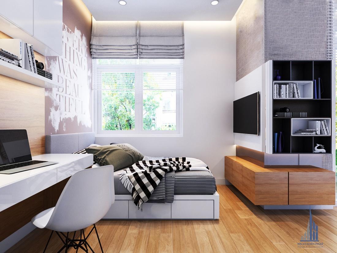 Phòng ngủ có cửa sổ thoáng mát. lấy sáng tự nhiên