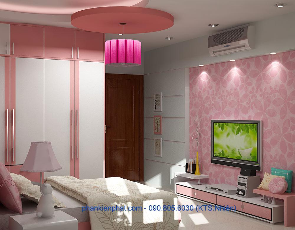 Phòng ngủ con gái 1 view 1 của bản vẽ nhà đẹp 4 tầng