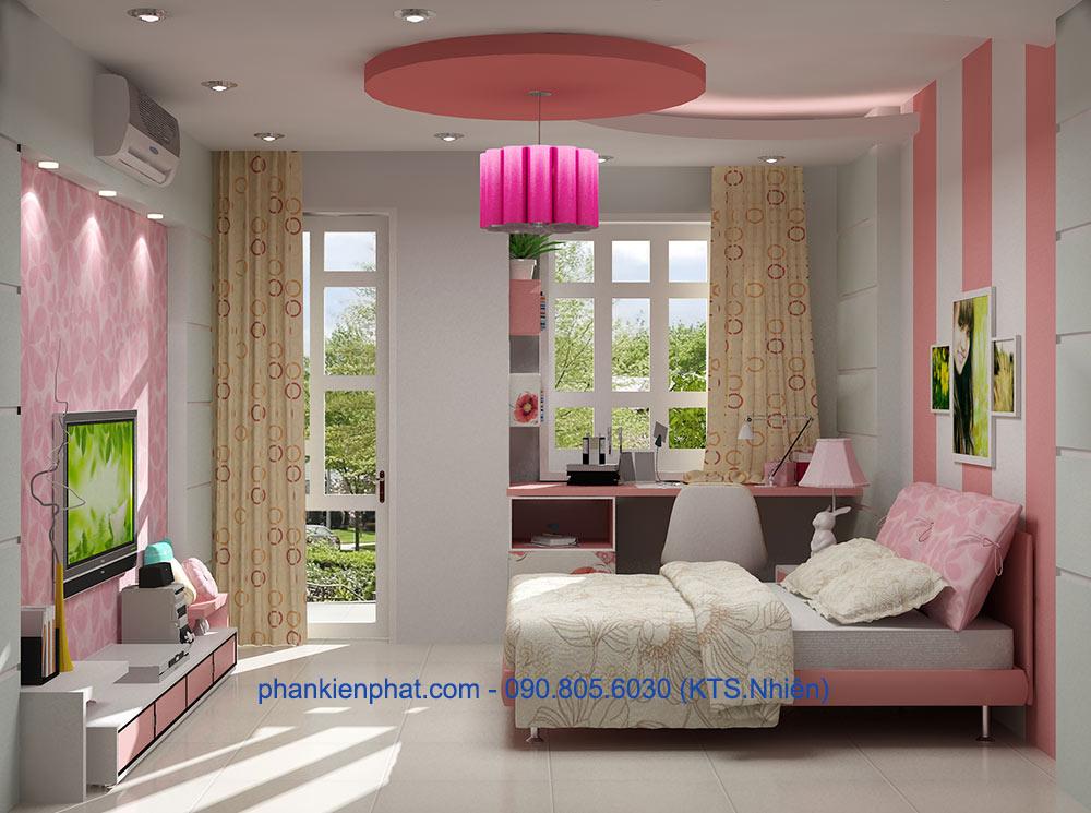 Phòng ngủ cho con gái 1 view 2 của nhà đẹp thông tầng
