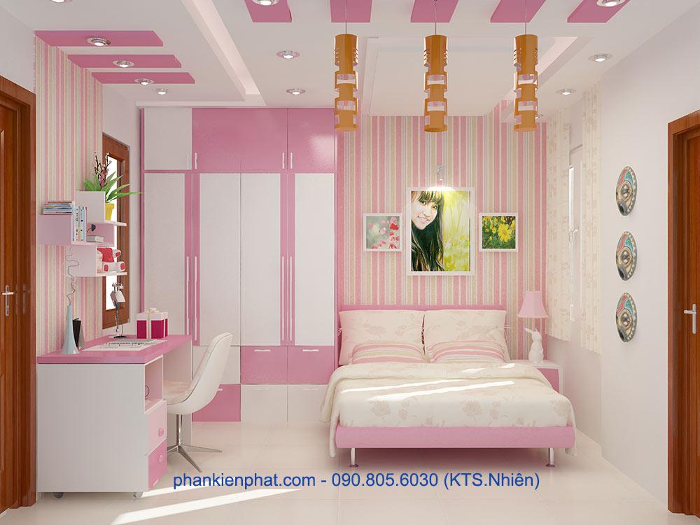 Phòng ngủ con gái 2 view 1 của nhà hiện đại 4 tầng