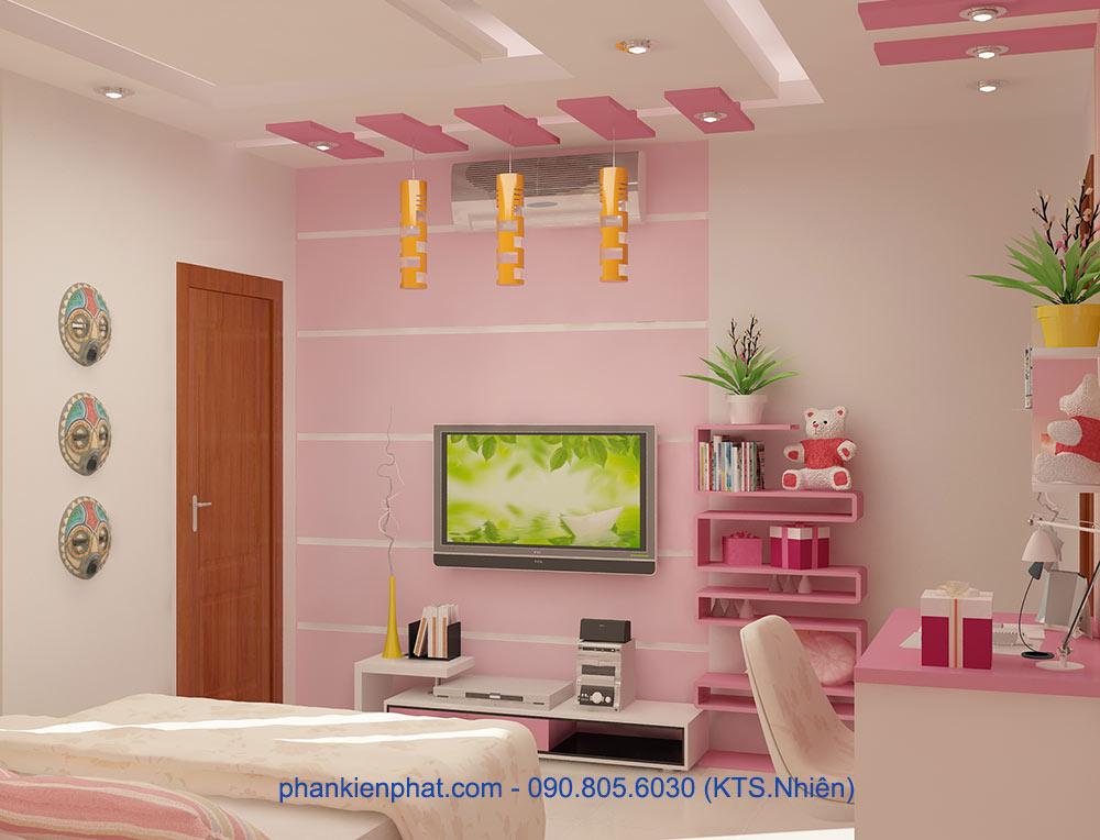 Phòng ngủ con gái 2 view 2 của nhà thông tầng đẹp 4 tầng