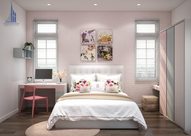 Phòng ngủ con gái được thiết kế xinh xắn, dịu dàng view 1