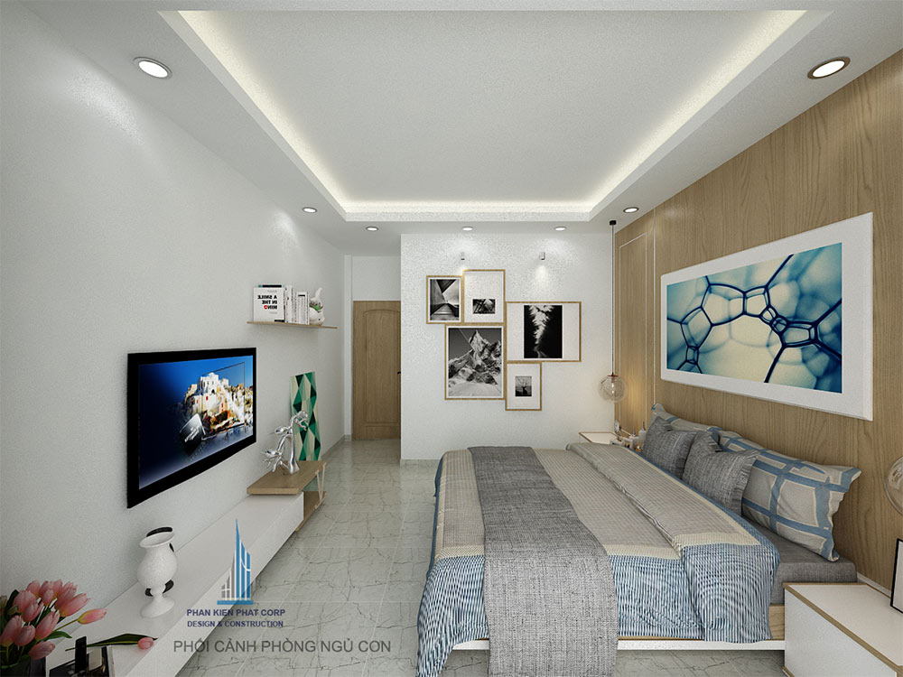 Phòng ngủ 1 view 1 của mẫu nhà hiện đại 4 tầng
