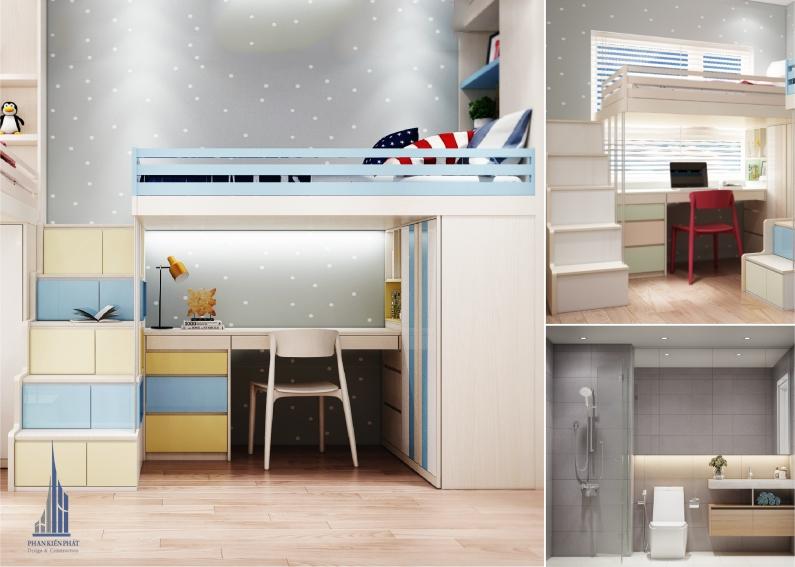 phòng ngủ độc đáo cho con khai thác tối đa không gian căn nhà