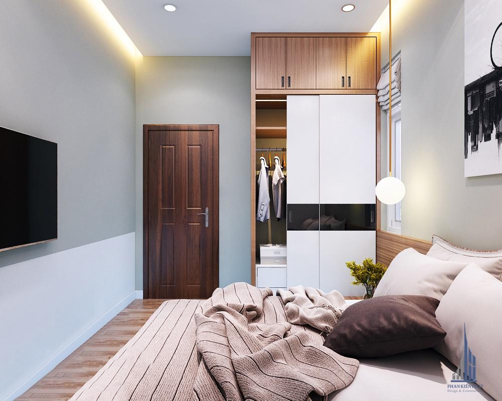 Phòng ngủ được thiết kế hợp lí, tiết kiệm không gian