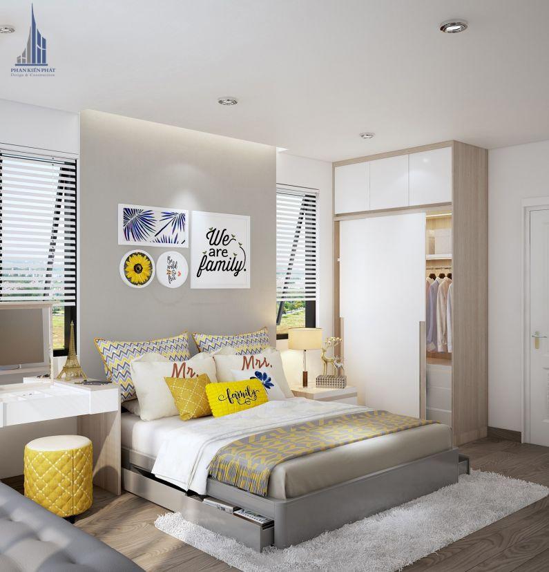 Phòng ngủ được thiết kế tiện nghi, hiện đại, tiết kiệm không gian view 1