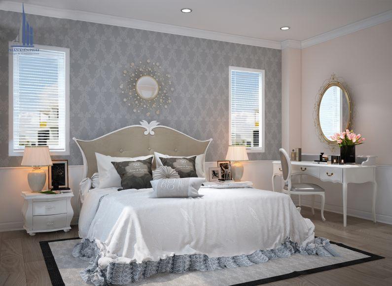 Phòng ngủ được trang trí đối xứng độc đáo