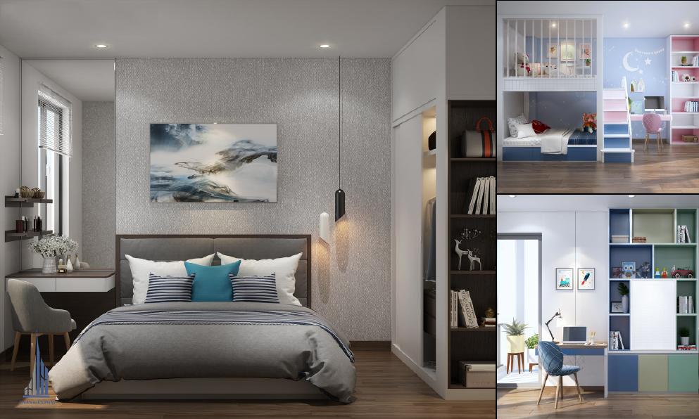 phòng ngủ được trang trí hợp lí tạo cảm giác thư giản thoải mái