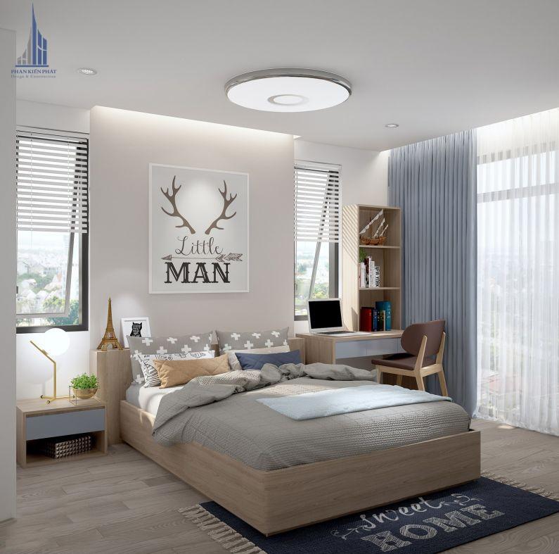 phòng ngủ được trang trí với màu dịu nhẹ hài hòa view 1