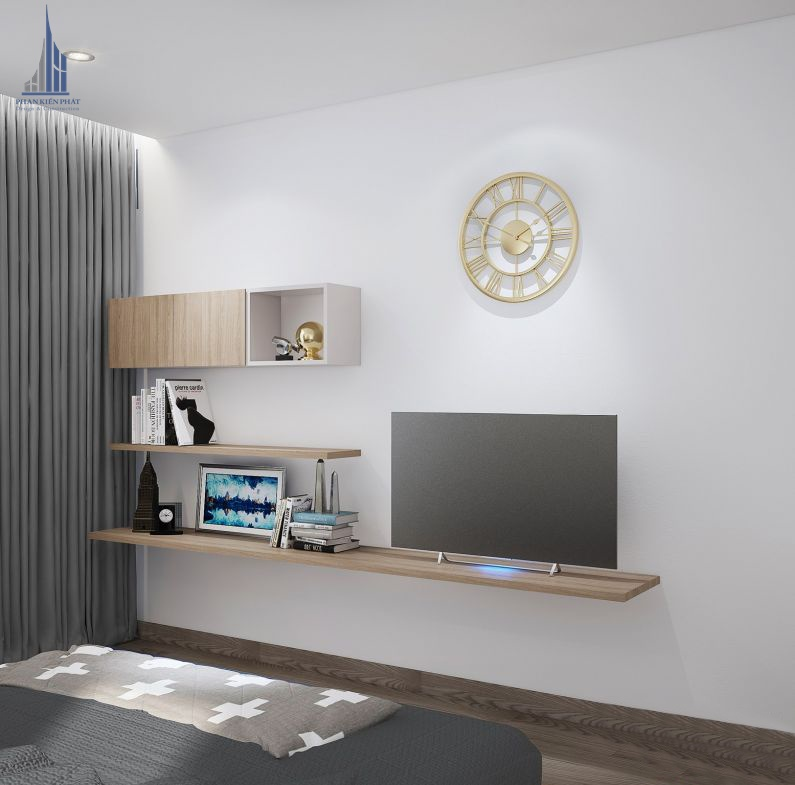 phòng ngủ được trang trí với màu dịu nhẹ hài hòa view 2