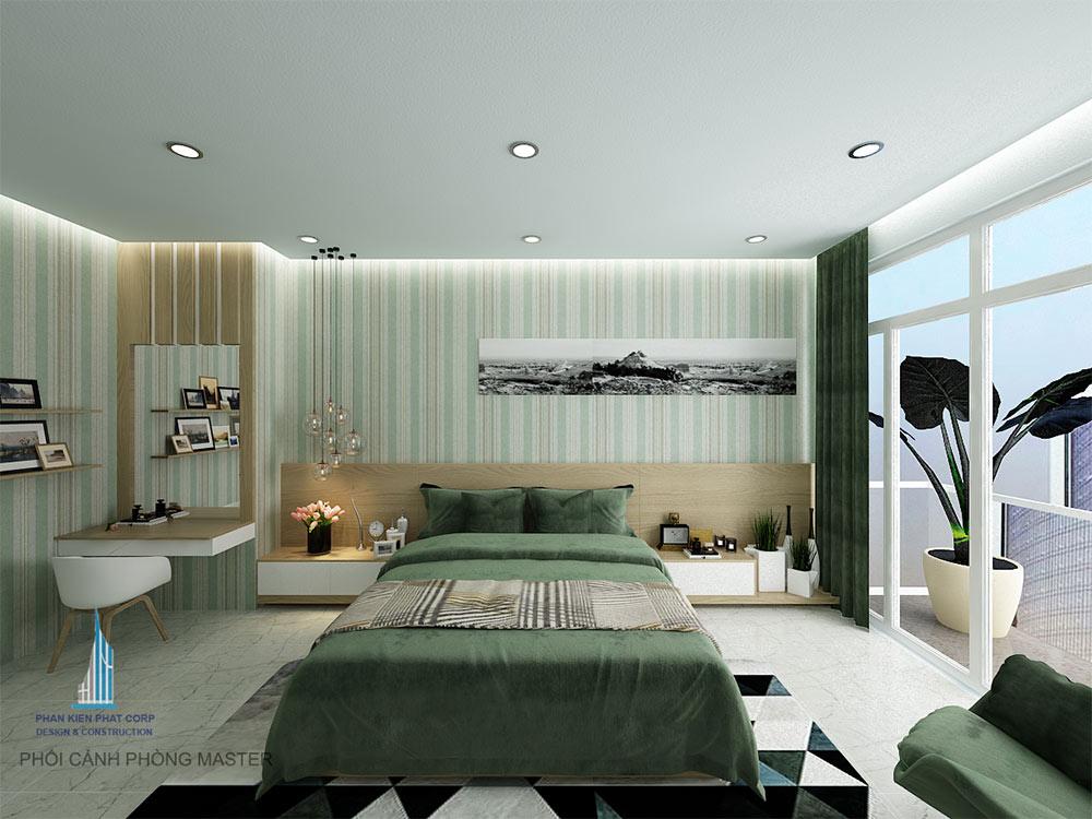 Phòng ngủ master của mẫu nhà 4 tầng 4x15m đẹp