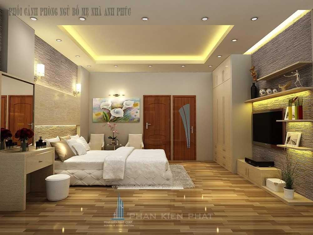 Phòng ngủ master của nhà ống 5x16m 3 tầng