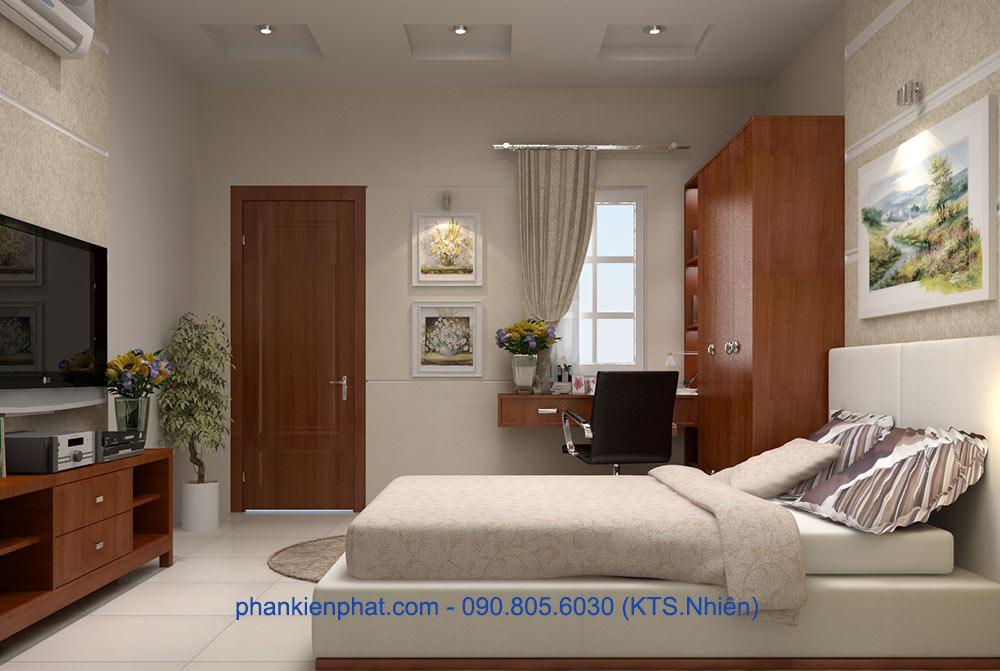 Phòng ngủ master view 1 của nhà 1 trệt 3 tầng lệch tầng