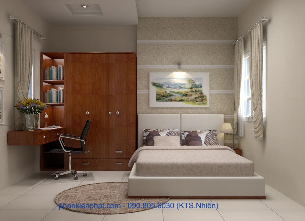 Phòng ngủ vợ chồng view 2 nhà ống thông tầng hiện đại