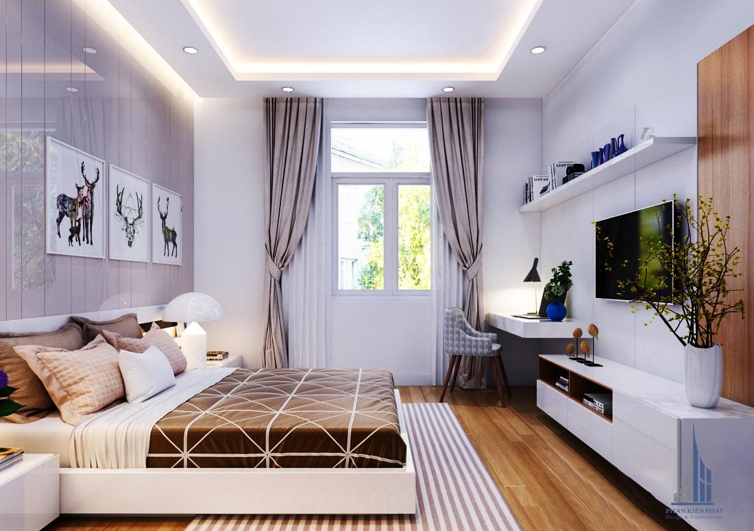Phòng ngủ với màu sắc hài hòa dịu dàng tăng thêm phần sang trọng cho căn nhà view 1