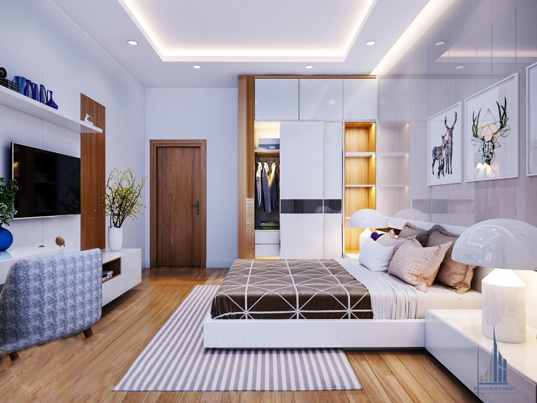 Phòng ngủ với màu sắc hài hòa dịu dàng tăng thêm phần sang trọng cho căn nhà view 2