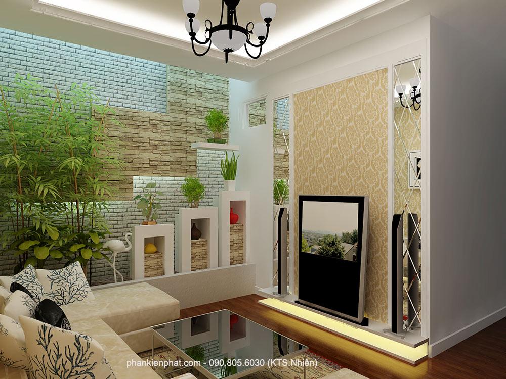 Phòng sinh hoạt chung view 1 của biệt thự mini đẹp 3 tầng
