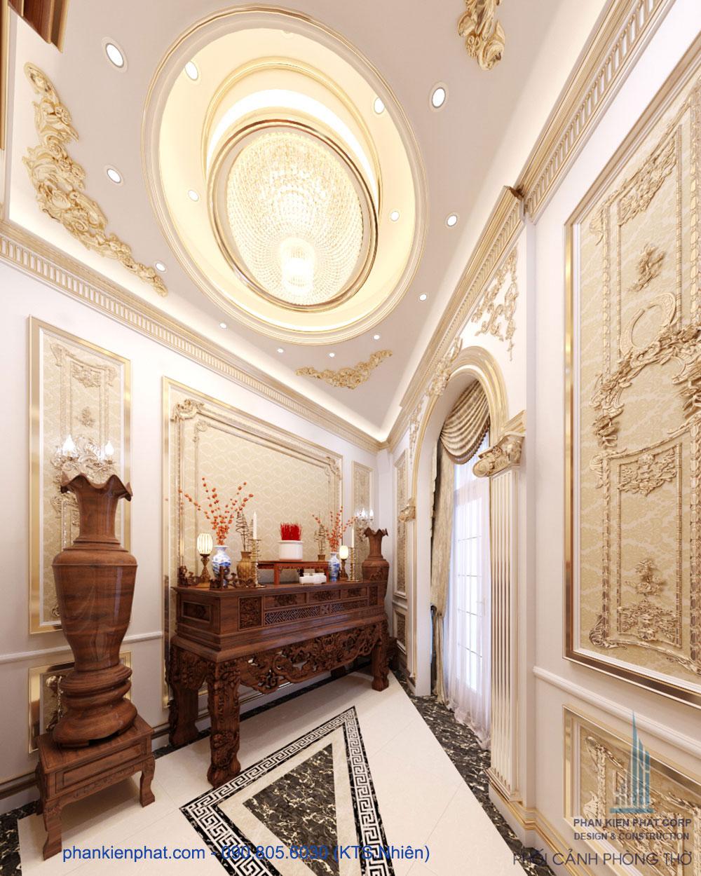 Phòng thờ của mẫu biệt thự đẹp cổ điển