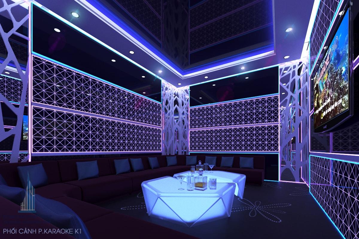 Thiết kế quán karaoke phòng 1 view 2