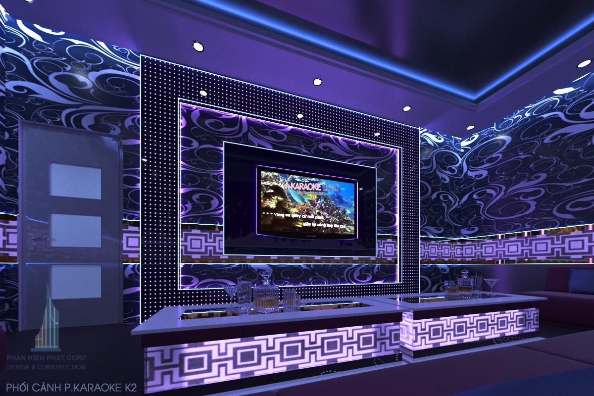 Thiết kế quán karaoke phòng 2 view 1